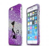 Black Sparkling Cat Apple iPhone 6 Plus Crystal Bling Hard Plastic Case Cover