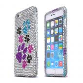 Silver Paw Prints Apple iPhone 6 Plus Crystal Bling Hard Plastic Case Cover