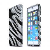 Silver Zebra Apple iPhone 6 Plus Crystal Bling Hard Plastic Case Cover