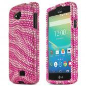 Baby Pink Zebra LG Transpyre Crystal Bling Hard Plastic Case Cover