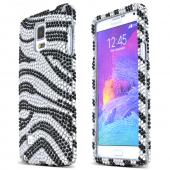 Silver Zebra Samsung Galaxy Note 4 Crystal Bling Hard Plastic Case Cover