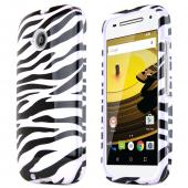 White Zebra Motorola Moto E 2nd Gen Thin Hard Glossy Polycarbonate Plastic Case Cover