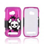 White Skull w/Bow on Pink for Nokia Lumia 710 Hard Case