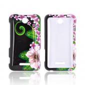 Pink/Purple Flower onBlack for ZTE Score X500 Hard Case