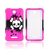 White Skull w/ Bow on Pink for ZTE Score X500 Hard Case