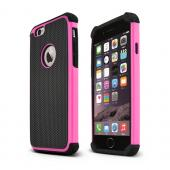 Hot Pink Apple iPhone 6 Hard Plastic Cover and Silicone Skin Hybrid Case