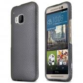 Gray Carbon Fiber HTC One M9 Thin Rubberized Hard Polycarbonate Case Cover