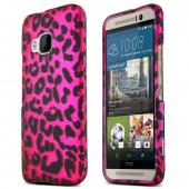 Hot Pink Leopard HTC One M9 Thin Rubberized Hard Polycarbonate Case Cover