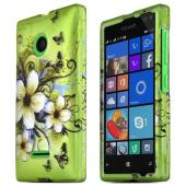 Green Hawaiian Flowers Nokia Lumia 435 Thin Rubberized Hard Polycarbonate Case Cover