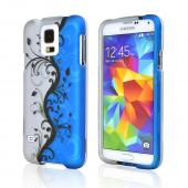 Blue Flower Vines Samsung Galaxy S5 Thin Rubberized Hard Polycarbonate Case Cover