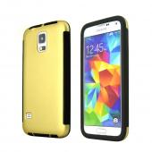 Gold Samsung Galaxy S5 Thin Rubberized Hard Polycarbonate Case Cover