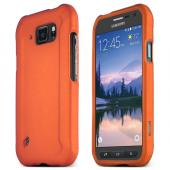 Orange Samsung Galaxy S6 Active Thin Rubberized Hard Polycarbonate Case Cover