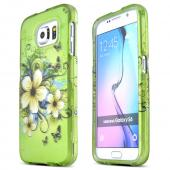 Green Hawaiian Flowers Samsung Galaxy S6 Thin Rubberized Hard Polycarbonate Case Cover