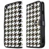 Black Houndstooth Apple iPhone 6 Magnetic Flap Front Cover Wallet Case