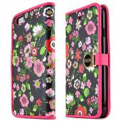 Pink Flowers Apple iPhone 6 Magnetic Flap Front Cover Wallet Case